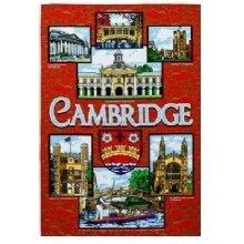 Red Cambridge Tea Towel Souvenir Gift Gargoyles Kings College Trinity Emmanuel