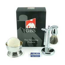 5 Piece Mens Shaving Set - De Razor, Badger Brush, Chrome BowL, GBS Soap and Stand -Comes in Gift Box