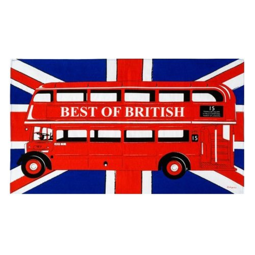 Red London Bus Tea Towel Traditional Routemaster Union Jack Flag Best of British