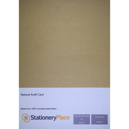 Stationery Place Thick - Brown Recycled Kraft Card - A4 280 GSM 50 Sheet Pack