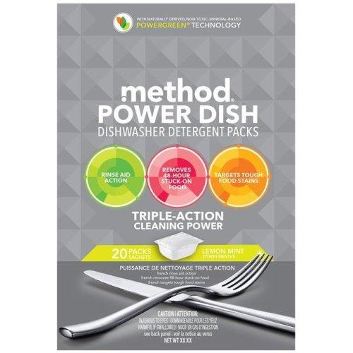 Method 1696582 Power Dish Lemon Mint Scent Dishwasher Detergent Packs