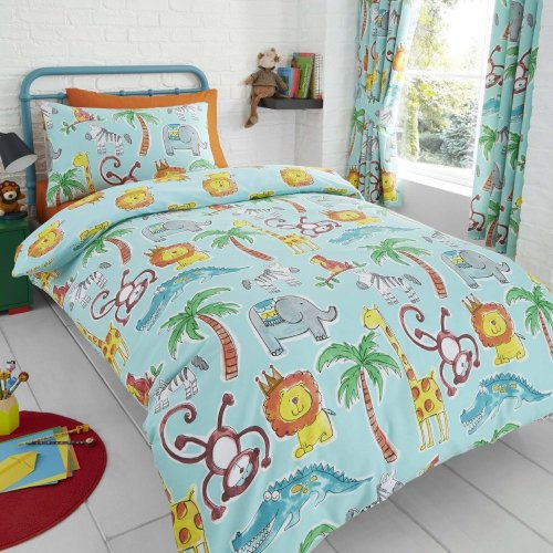 Happy Linen Company Childens Jungle Safari Animals Lion King Teal Reversible Single Bedding Duvet Cover Set