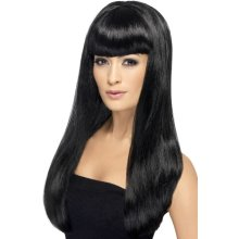 Smiffy's Babelicious Wig Long Straight With Fringe - Black -  wig babelicious long black straight fancy smiffys fringe dress accessory