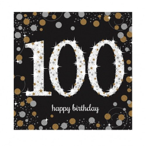 Amscan Sparkling Gold Celebration 100th Birthday Luncheon Napkins - 16 Pack