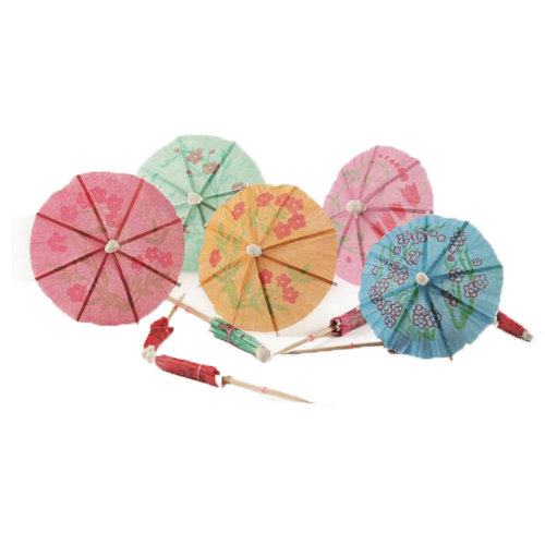 Umbrella Cocktail Picks Cupcake Toppers 160 Packs - Assorted Colors