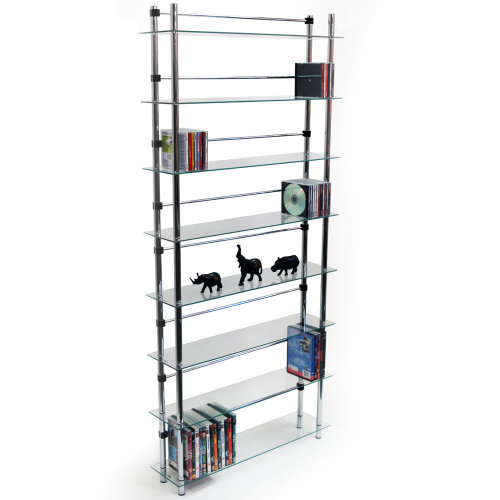 MAXWELL - 8 Tier 344 DVD / Blu-ray / 520 CD / Media Storage Shelves - Clear / Silver
