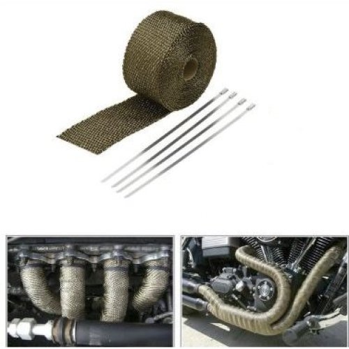 Titanium Heat WRAP 5M + 4 Ties Exhaust Insulating Downpipe Manifold WRAP