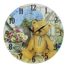Obique Home Decoration Teddy Bear & Flowers Scene 34cm MDF Wall Clock