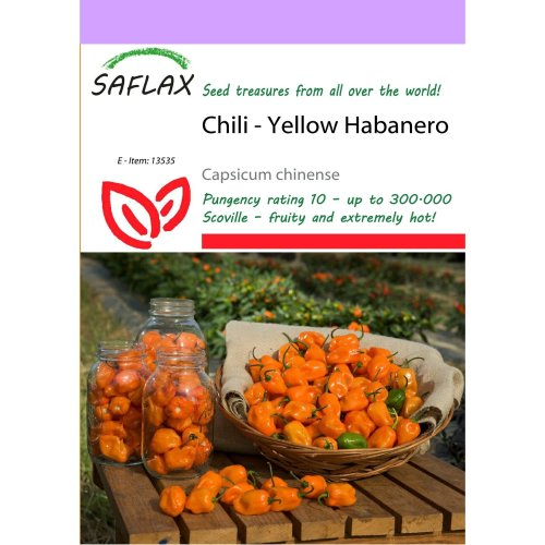 Saflax  - Chili - Yellow Habanero - Capsicum Chinense - 10 Seeds