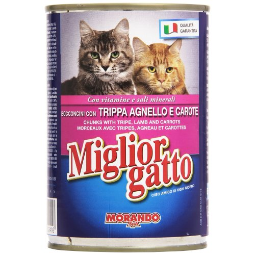 migliorgatto–Complete food for cats, Bocconi with Tripe, Lamb and Carrots–24Pieces of 405g [9720G]