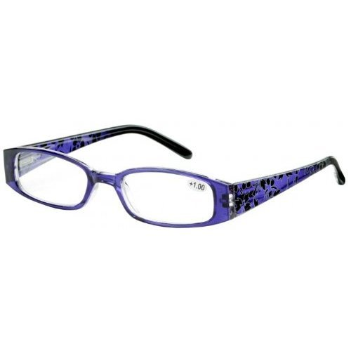Sunoptic R11D Purple Patterned Arms Reading Glasses - Strength +3.00 Including Soft Pouch