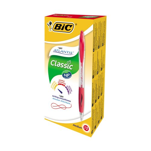 Bic Atlantis Retractable Ballpoint Pen Red (pack of 12)