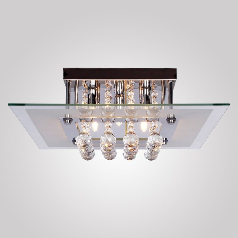 Homcom 5 Lights Crystal Chandelier Flush Rain Drop Ceiling Light Fixture in Metal Plate and Bulbs