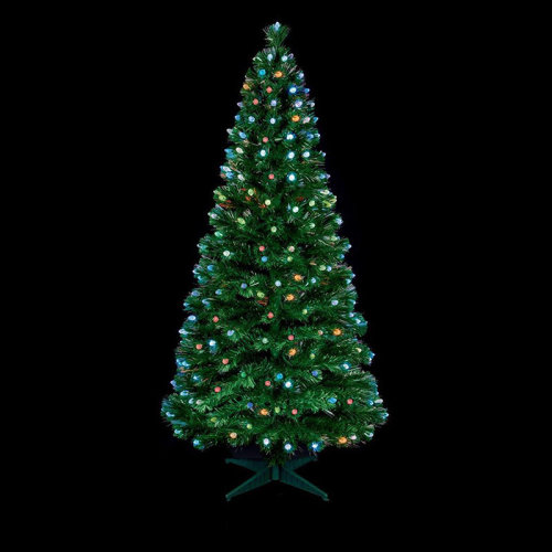 Premier Decorations - Green Tree with Pine Cones and Colour Changing LEDs