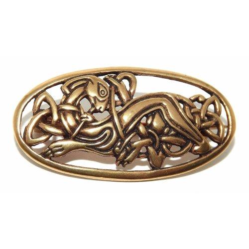 Bronze oval Viking / Celtic Knotwork Dog Badge / Brooch