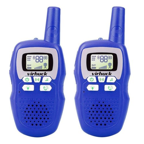 Virhuck 2-packed Classic Walkie Talkies for Kids with Flashlight, 3CH, 3KM Range, with LED Light Indicator, Long Distance Clear Voice (Blue)