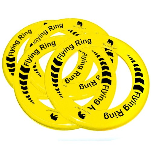 Pack of 4 Yellow Flying Rings - Fun Outdoor Summer Toys - Frisbee Type Toys