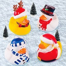 Christmas Themed Rubber Ducks (Set of 4) - Bath or Pool Toys
