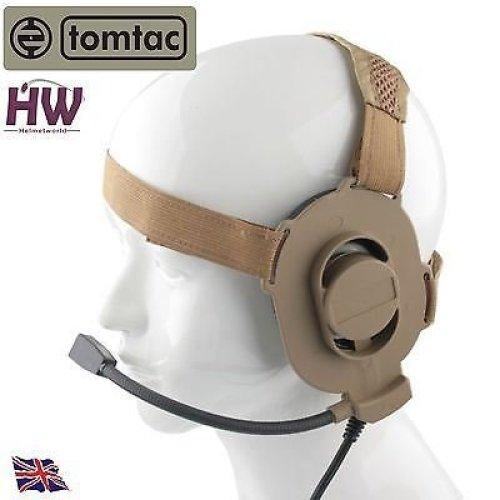 Airsoft Tomtac Bowman Elite Ii 2 Headset Boom Mic Tan Sand De Helmet Radio Uk