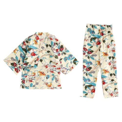 Sweet Kimono Pajamas Cotton and Linen Women's Autumn&Winter Pajamas