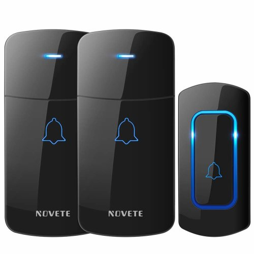 Wireless Doorbell, NOVETE 1300-Ft Long Range Door Chime Kit,1 Push Button and 2 Plug-in Receivers with LED Flash, 52 Melodies IP 55 Waterproof...