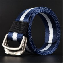 Men Double Loop Buckle Breathable Nylon Belt Outdoor Casual Sports Durable Belt