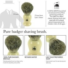 GBS 100% Pure Badger Bristle Shaving Brush (Ivory)