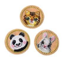 3 Pcs Embroidery Applique-Iron on Animal Patch Applique Patches-Cat Panda Rabbit