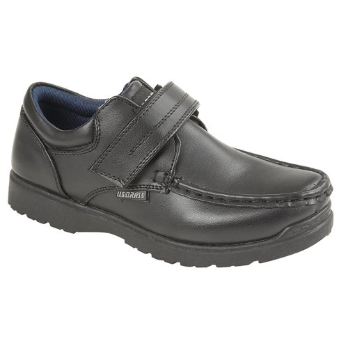 US Brass Boys Touch Fastening Shoe Black