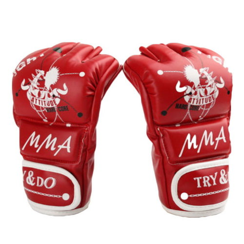 Boxing - Kickboxing Glove Half Finger Gloves -MMA----Red
