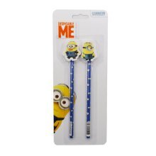 Minions Pencil & Topper Set (pack Of 2) - Official 2 Pack Eraser Toppers School -  minions official 2 pack pencil eraser toppers school office