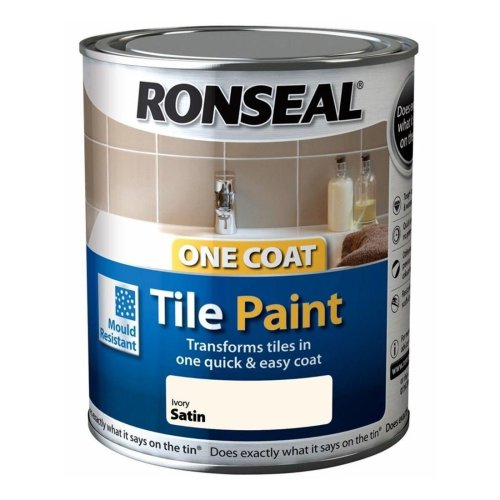 Ronseal One Coat Tile Paint 750ml - SATIN Ivory