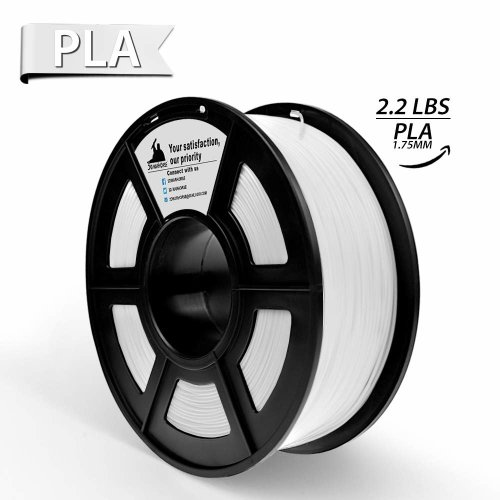 PLA 3D Printer Filament, 3D Printing Materials, Dimensional Accuracy +/- 0.02 mm, 2.2 LBS,1KG Spool, White Color