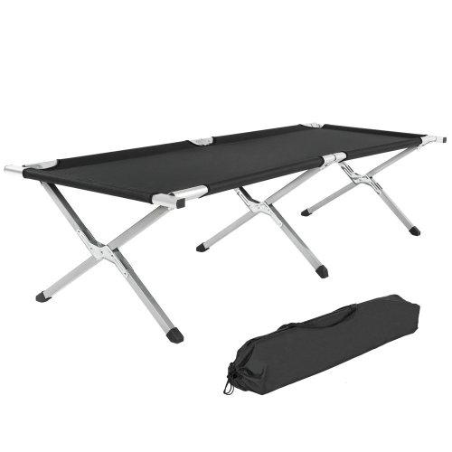 3 camping beds made of aluminium black