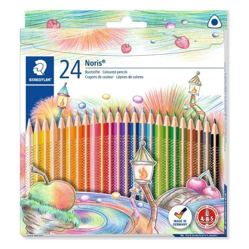 Staedtler Noris Club Coloured Pencils 127(S) 24pièce Pencil (Wood, Triangular, multi-coloured, 24Piece (S), Germany, PEFC,)
