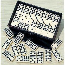 Double nine dominoes with black spots & spinners 00122