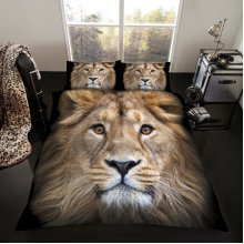 Lion 3D print cotton blend duvet cover bedding set