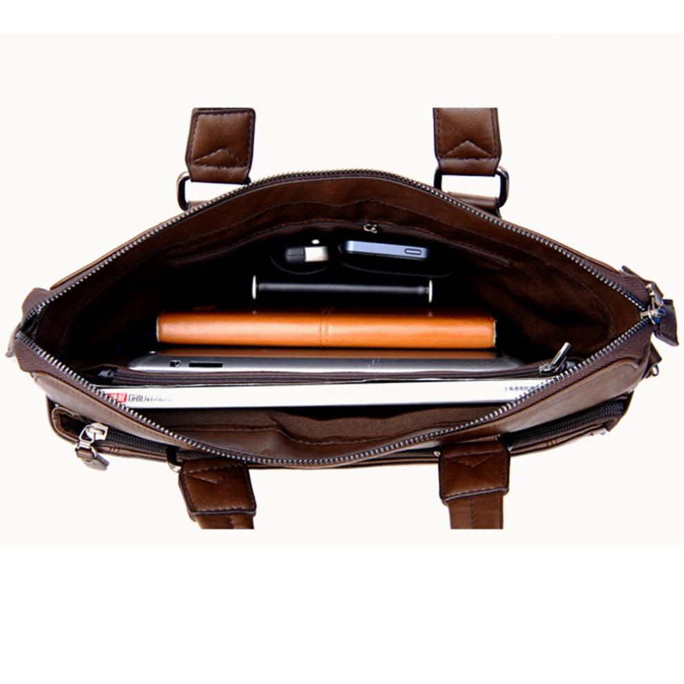5aee1757ed12 Coffee Mens Leather Briefcase Laptop Case Messenger Bag BusinessShoulder Bag