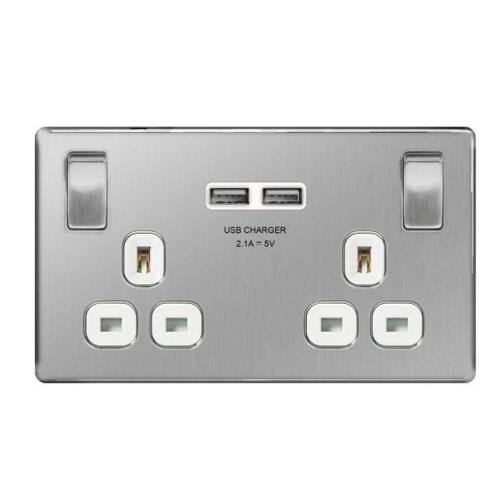 British General Double Switched Power Socket with USB 2.1A Charger Sockets - Brushed Steel (White Insert)