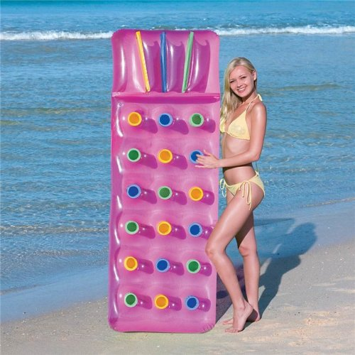 Inflatable 18 Pocket Fashion Sun Beach Swimming Pool Lounger Lilo Air Bed - Pink