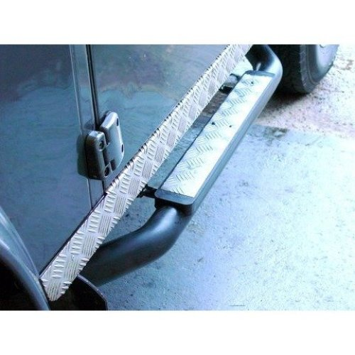 """Defender 90 Xs 3"""" Tube Side Steps - Black Chequer Plate"""