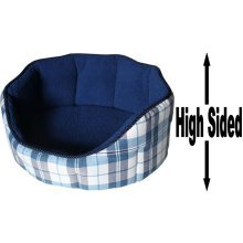 """Dog Bed Thick Blue Chequered Material Fleece 18"""""""