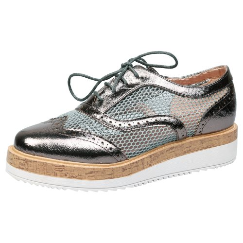Alana Womens Low Heel Lace Up Flatform Brogues