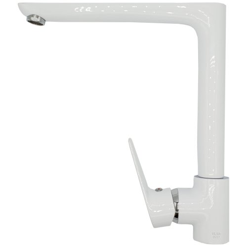 White/Chrome Straight Angled Spout Kitchen Sink Standing Mixer Tap Single Lever