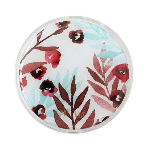 Stylish Round Contact Lenses Case Storage Holder Red Flower