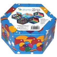 Starmo Childrens 52 Pcs Craft Art Artists Set Hexagonal Box Crayons Paints Pens Pencils
