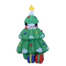 Homcom 1.6m Inflatable Santa Claus Hidden into Xmas Tree 3 Led Lights Blow Up Christmas Lighting