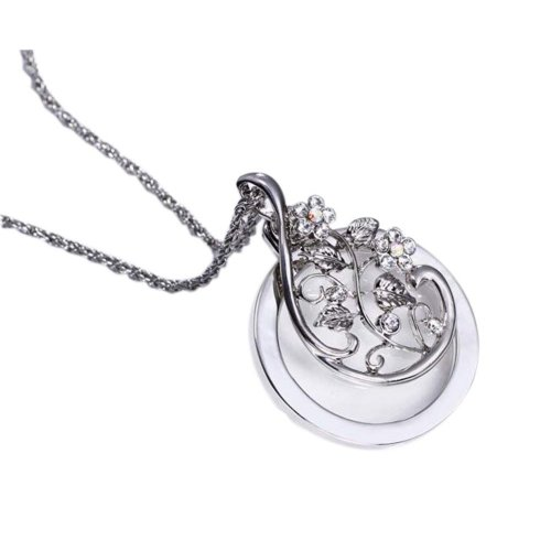 Fashion Magnifying Glass Necklace Clavicle Necklace Magnifier, Silver