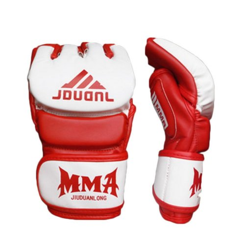 Adult Fighting Half-finger Gloves -UFC Boxing Gloves - Gloves MMA 2 --White Red