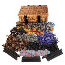 Liquorice Sweets in a Real Wicker Hamper (Real Wicker Hamper crammed full of liquorice sweets)